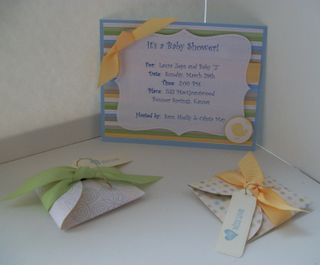 Baby shower invite with favor boxes